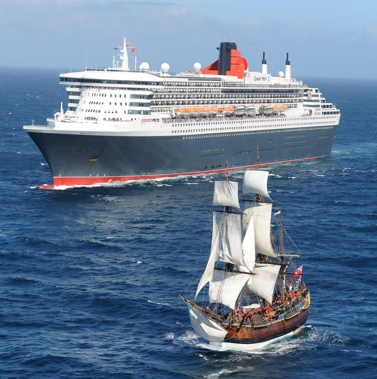 Cunard's Queen Mary 2 with HMB Endeavour