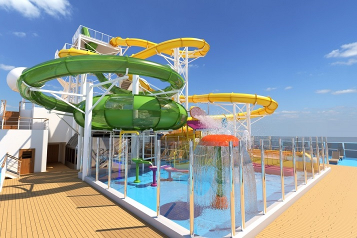 Carnival reveals design for ground-breaking green and gold waterpark on Carnival Splendor