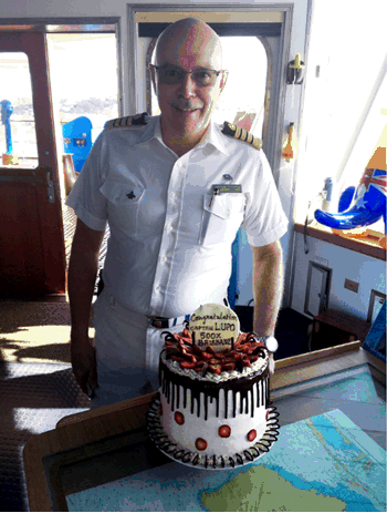 It has taken more than 10 years sailing in and sailing out again but P&O Cruises Captain Salvatore Lupo has recorded an astounding 500 transits of Brisbane taking thousands of Queenslanders on cruise holidays
