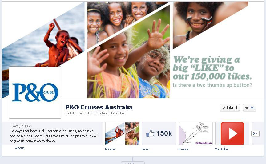 P&O Cruises Facebook Page Hits 150,000 Likes